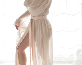 Trieste. 1 custom Poet sleeve chiffon robe Honeymoon lingerie Long bridal robe Draped sleeves Gathered waist Plus size wedding lingerie