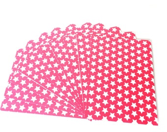 Set of 10 Envelopes Pink Stars