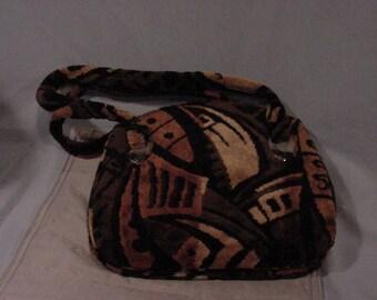 ARTSY Purse Handbag Velour Velvet Brown and Black Creative Vintage