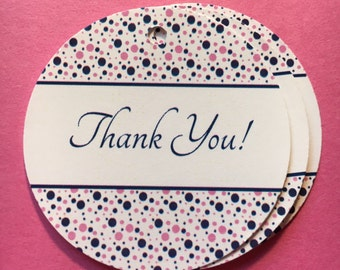 Pink and Navy Thank You / Favor Tags