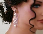 Vintage Inspired Gold  Bridal Earrings, Wedding Jewelry, Swarovski Earrings, Chandelier Earrings, Art Nouveau - Freja