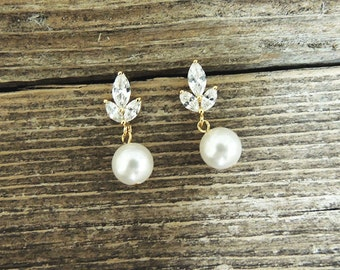 Gold Bridal Earrings - CZ Swarovski Round Pearl Earrings  Bridesmaids -Ivory Pearl Bridal Earrings - Norah