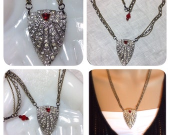 Repurposed Art Deco Dress Clip Brooch Necklace Rhinestones Red Accents Rubies Multi Chain Large Pendant Mixed Metal Original OOAK WishAnWear