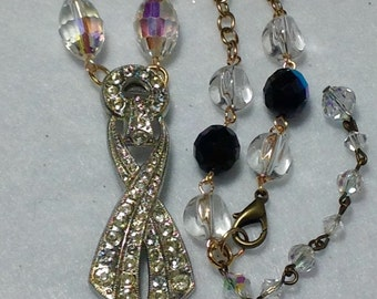 Vintage Assemblage Necklace Aurora Borealis Crystals 30s Art Deco Nouveau Rhinestone Pendant Repurposed Jewelry Retro Bead WishAnWearJewelry