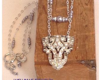 Vintage Rhinestone Pendant Assemblage Necklace Second Time Around Repurposed Art Deco Dress Clip Pearls Double Silver Chain Retro Boho Chic