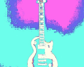 Psycho Rockin' Guitar! Prints! Enhanced Photo.