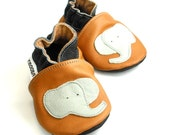 outdoor sole shoes leather baby handmade infant gift elephant gray brown 6 12 ebooba 307-2