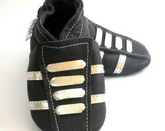 soft sole baby shoes leather infant sport black silver 12-18m ebooba SP-35-B-T-3
