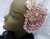 SALE Pink Rhinestone Goddess Headdress Flapper Gatsby Fairy Queen Bellydance Bride
