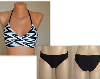 PADDED Chevron wrap around bikini top and  matching black full coverage bottoms-Swimsuit-Bathing suit-Swimwear-Choose your color-XS-S-M-L-XL