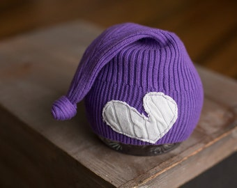 Purple Newborn Hat, Upcycled Newborn Hat with Heart, Short Tailed Sleep Cap, Newborn Photography Prop, READY TO SHIP Newborn Hat, Knot Hat