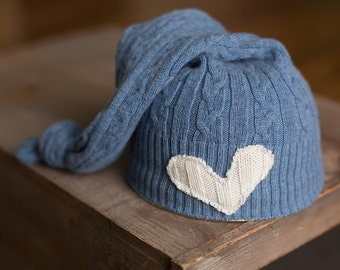 Upcycled Newborn Hat with Heart Blue Cable Knit Hat READY To SHIP Photography Prop Baby Boy Props