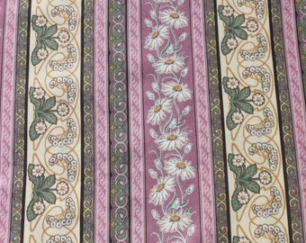 Vintage Cotton Fabric by the Yard, Daisy Flower Pink Green Striped, Romantic Floral Fabric Material BTY Yardage