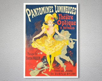 Pantomimes Lumineuses by Jules Cheret -  Poster Paper, Sticker or Canvas Print