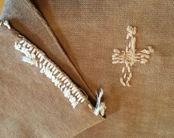 Vintage Japanese Cotton Boro Patched Sake Bag, Sakabukuro-569