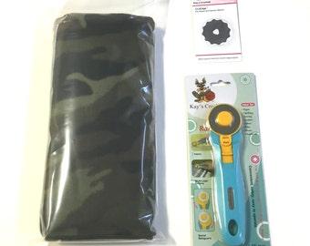 Crochet Edge Skip Blade Fleece Kit Baby Camo DIY Fleece Blanket Kit with 45 mm Kay's Crochet Rotary Cutter
