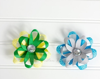 25 PERCENT OFF Flower Ribbon Hair Clips, Green, Yellow, Silver, Blue- Set of 2