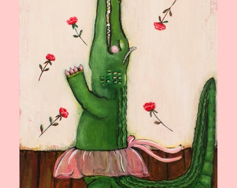 Alligator Ballerina, an 11 x 14 inch Print of the Original Painting