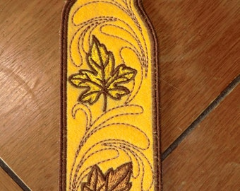 Embroidered Bookmark - Fall - Gold & Yellow Leaves