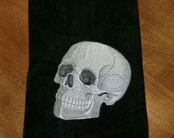 Embroidered Velour Hand Towel - Halloween - Skull - Black Towel