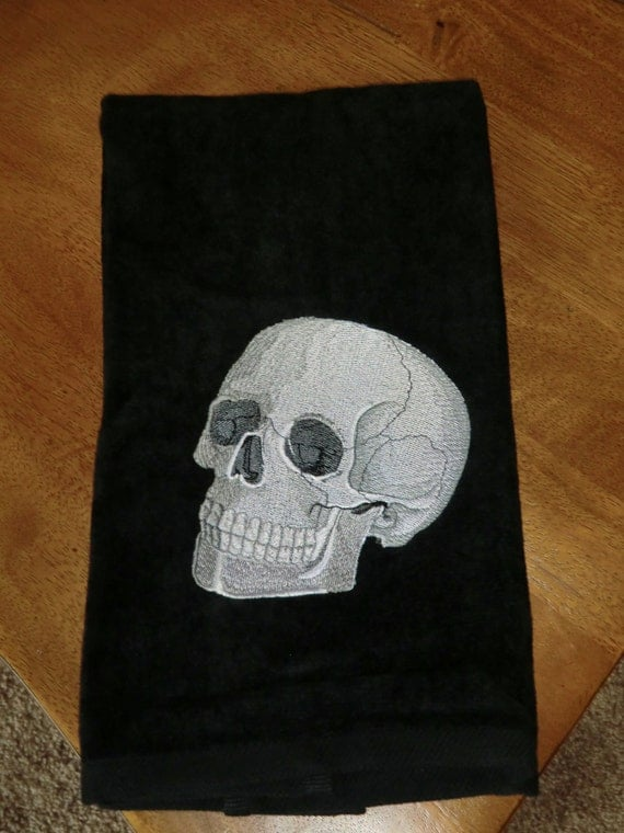 Embroidered Velour Hand Towel - Halloween - Skull - Black