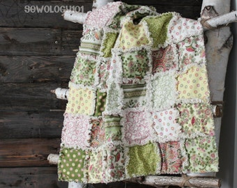 SALE: Spring floral tea party baby rag quilt in soft pink, green, yellow and white floral prints