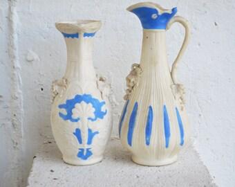 Mid-Century/Parian Ware/Bisque Blue-White/Porcelain Vases