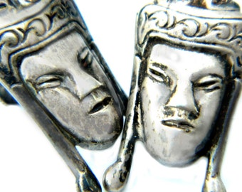 Buddha Sterling Silver Earrings Asian Vintage Mid Century Collectible Jewelry For Women Great Buddha Sterling Jewelry