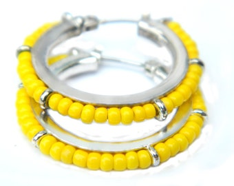 Yellow Hoop Earrings Lever Back 1970 Pierced Glass Bead Collectible Vintage Jewelry For Women Hippie Hipster Earrings Summer Yellow