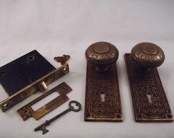 Antique Brass Door Knob set  mortise lock key    649