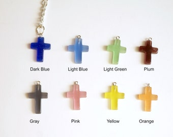 Colored Glass Cross Necklace