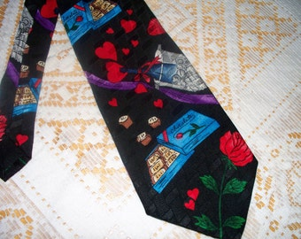 Vintage Addiction Men's Tie  - Valentines Day - Wide Width - 100% Silk