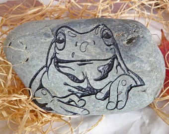 Green Frog Engraved Paper Weight Stone