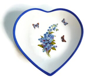 """forget-me-not"" Limoges porcelain heart plate"
