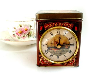 Vintage English Tea Tin Desk Clock,Tea Time Electric Clock, Tea Tin ,English Tea Tin ,Kitchen Desk Clock