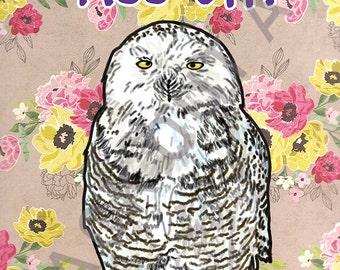 Piss Off Owl: Sassy Birds Art Print (5x7 or 8x10)