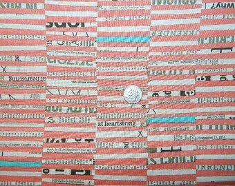 Staggered Stripe News Print by Carrie Bloomston - Fabric By The Half Yard 18 inches x 44 inches