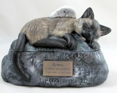 custom for Tina - Ceramic Engraved Painted Siamese Cat Cremation Urn with Plastic Name Plate- hand made pet urn