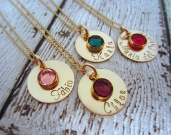 Birthstone Necklace, Birthstone Jewelry, Gold Mom Necklace, Mothers Necklace, Mom Jewelry, Gold Mom Jewelry, Mommy Necklace