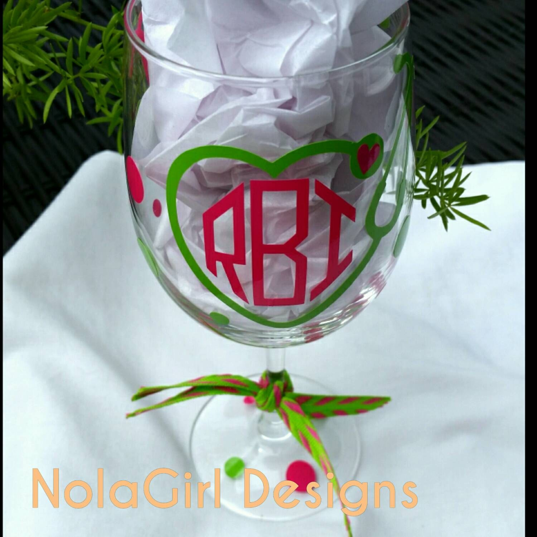 Nurse Wine Glass Stethoscope Monogram Nurse By Nolagirldesign