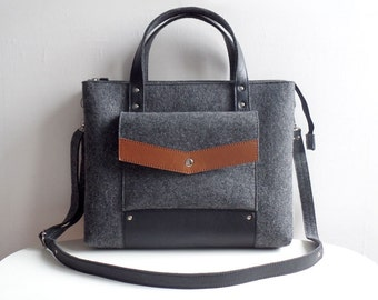 Dark Gray Black Brown Wool Felt Genuine Leather Handbag Bag