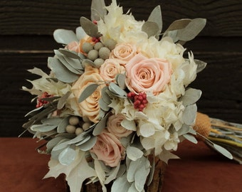 Pastel and Gray Wedding Bouquet, Champagne and Pink Preserved Rose Bridal Bouquet, Dried Flower Bouquet, Hydrangea Rose and Brunia Bouquet