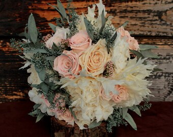 Pale Pink, Sage and Cream Wedding Bouquet, Cream and Pink Preserved Rose Bridal Bouquet, Dried Flower Bouquet, Hydrangea and Rose Bouquet