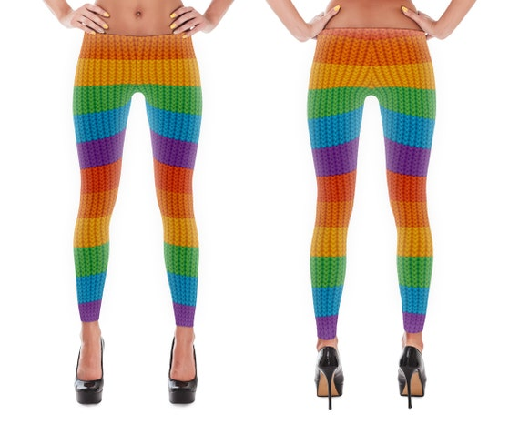 Stretchy, Cozy, Polyester (spandex) Leggings (Rainbow Yarn Pattern) - (Adult)