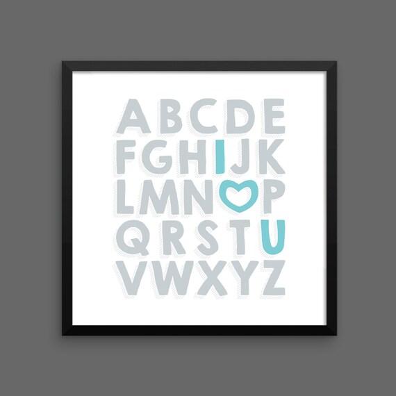 I LOVE YOU (Silver & Turquoise) Framed Alphabet Poster Print - Nursery, Kids Room, Wall Art Modern