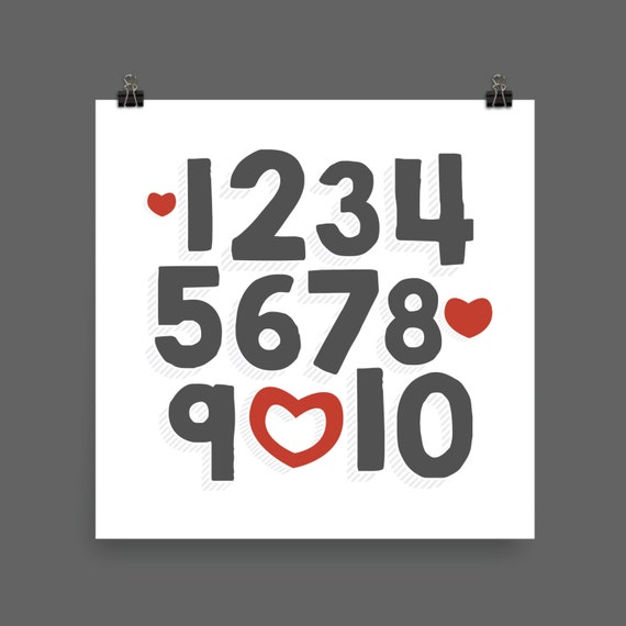I LOVE YOU (Charcoal & Red) Numbers Poster Print - Nursery, Kids Room, Wall Art Modern