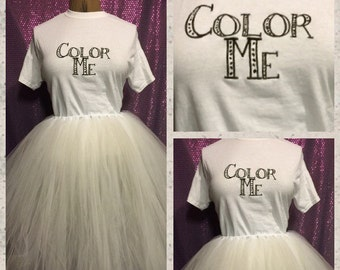 Color me color run embroidered shirt and tutu