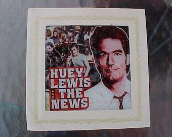"1983 Vintage HUEY LEWIS & The News SPORTS Glass Portrait Carnival Boardwalk Game Prize 8"" x 8"" Scarce Collectible Rock Memorabilia"