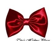 Red Hair Bow, Satin Hair Bow Clip, Bows For Women, Kawaii Bows, Handmade Bow, Satin Fabric Bow, Lolita, Big Bow, Baby Girl Bow, 035