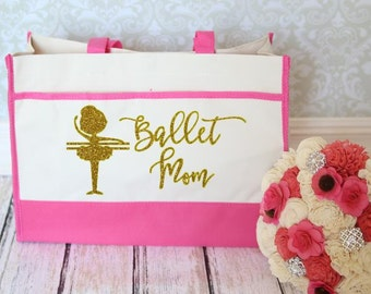 Ballet Mom Tote Bag in Hot Pink and Gold perfect to bring everything to watch your little ballerina dance